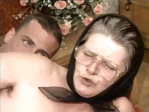 Hirsute Granny in Goggles and Scarf Drilled
