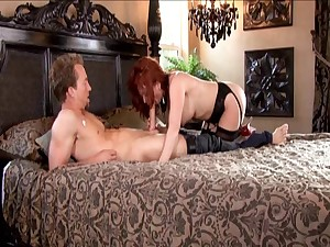 Milf carrot in nylons copulates a youthful stud