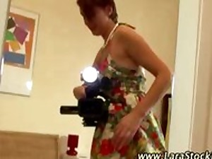 Euro hottie puts nylons on during the time that older homosexual woman filmsher