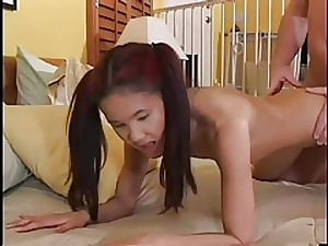 Petite Oriental Babysitter Kitty Desires Late Masculine Dong