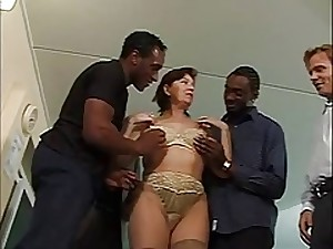 Mature gangbang interracial