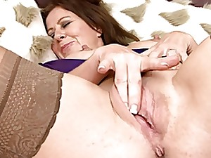 Fascinating Older in Nylons Masturbates