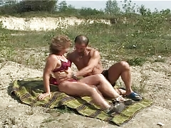 Aged with diminutive wobblers important nipps acquires fuck on seaside