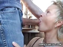 Aged non-professional wife sucks and bonks outside with facial cum